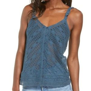 Hinge Nordstrom Lace/Crochet Style Sheer Tank Top NWT
